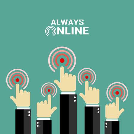 staying in shape: Always online, internet concept poster Illustration