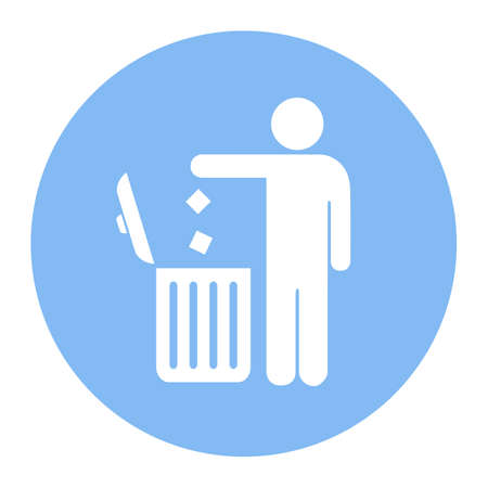 litter: No littering, use trash can vector icon
