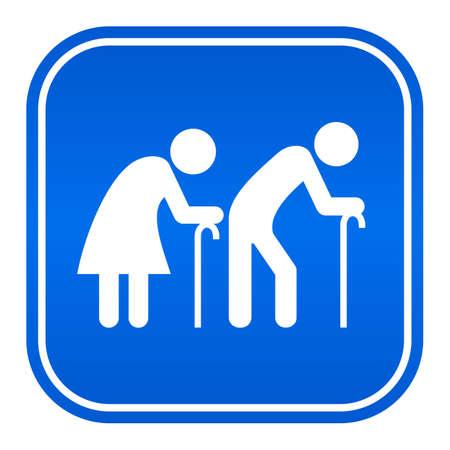 two roads: Elder couple icon Illustration