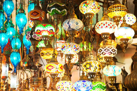 Lanterns on istanbul grand bazaar, colorful wallpaper