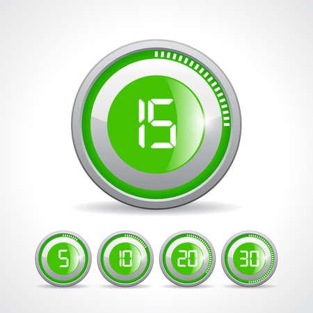 Vector green timer icon set