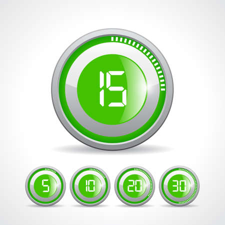 second: Vector green timer icon set