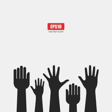 manos levantadas: Criado cartel de las manos
