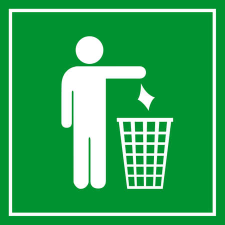 littering: Use a trash can, no littering sign Illustration