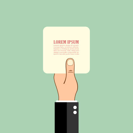 raised hand: Hand holding paper card, vector poster