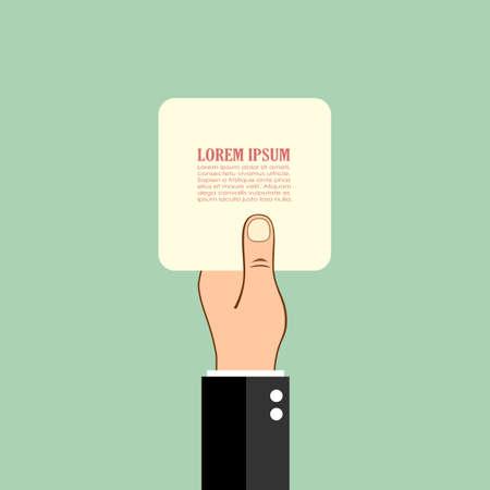 dedo: que prende o cartão de papel mão, poster vector