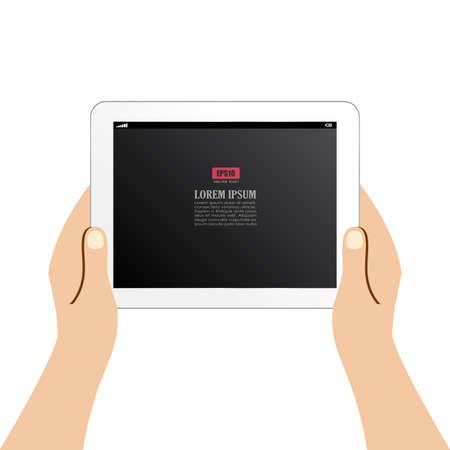 using tablet: Human using tablet computer Illustration