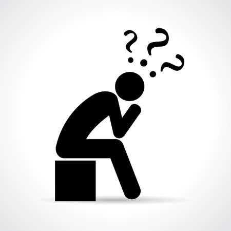 pensador: Pensando persona icono Vectores