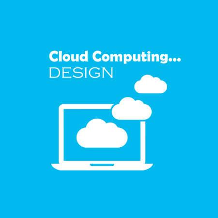 shared sharing: Cloud computing emblem Illustration