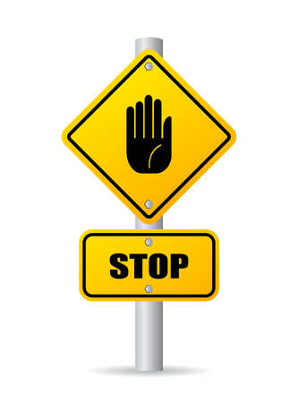 authorized: Stop pole road sign Illustration