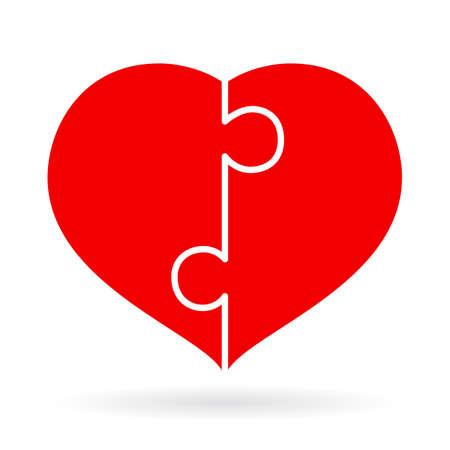 puzzle heart: Puzzle heart icon