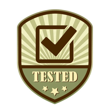 marked boxes: Tested and approved tick retro label