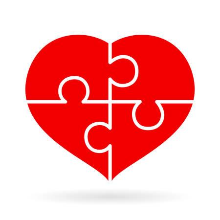 Four piece puzzle heart