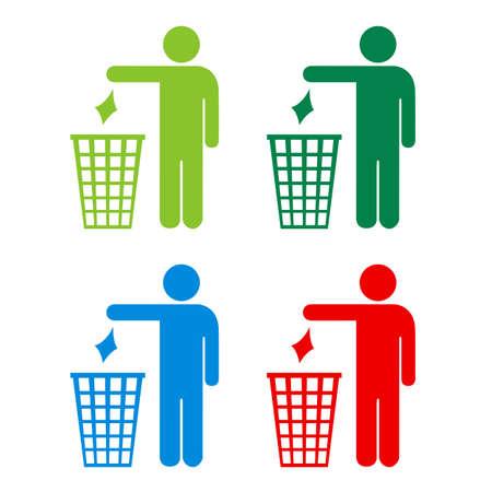 botar basura: No tirar basura iconos fijados Vectores