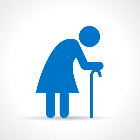 walking stick: Old woman icon