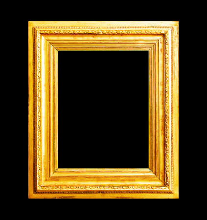 framed picture: Wood gold frame isolated on black