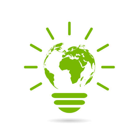 light green: Green energy icon Illustration