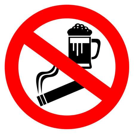smoking place: No alcohol and smoking sign