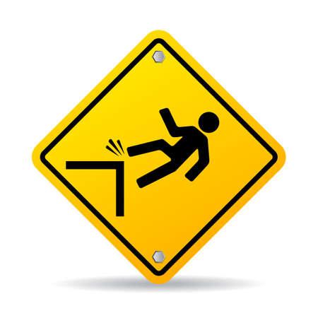 steep cliffs sign: Danger cliff sign Illustration
