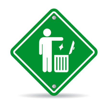 recycling logo: No littering green rhombus sign Illustration