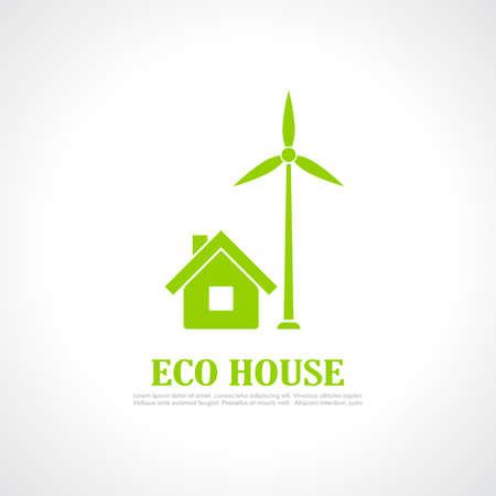 carbon neutral: Eco house emblem Illustration