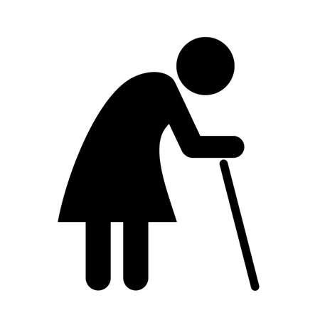 crooked: Elder lady pictogram Illustration