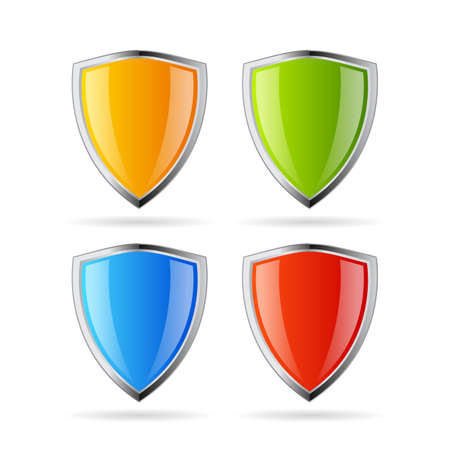 Secure shield icons set
