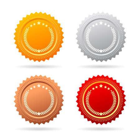 silver circle: Vector medals set Illustration