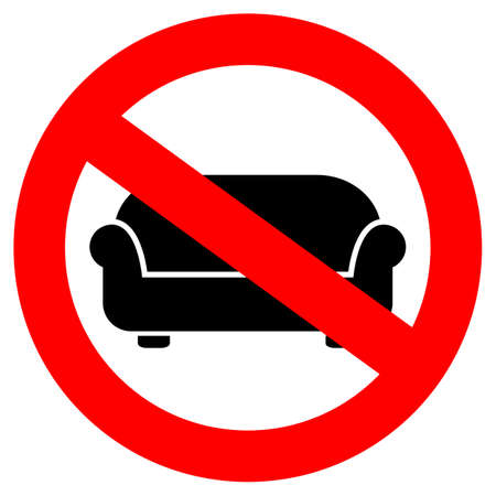 forbidden pictogram: No lying on sofa sign