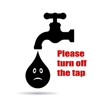 a placard: Turn off the tap placard Illustration