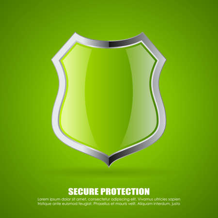 Green secure shield icon Illustration