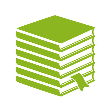 high volume: Tall stack of books icon Illustration
