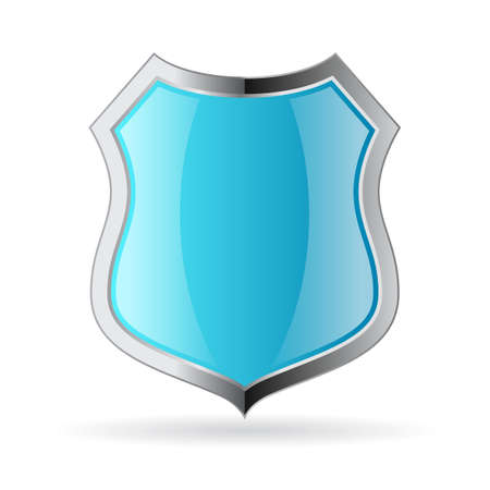 metal shield: Blue metal shield icon Illustration