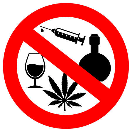 heroin: No alcohol and drugs sign Illustration