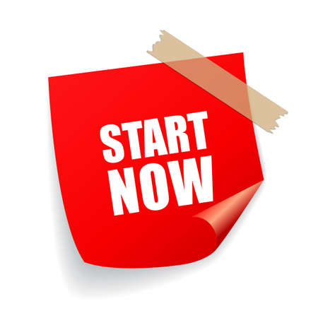 Start now motivational remind sticker Illusztráció