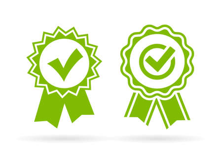 Certified product tick icons Vettoriali
