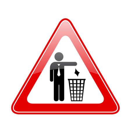 botar basura: No tirar basura señal de peligro triangular
