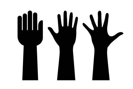 outstretched: Raised hands silhouette