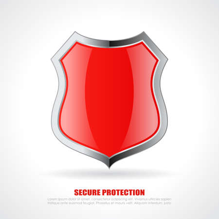 Red chrome shield icon Illustration