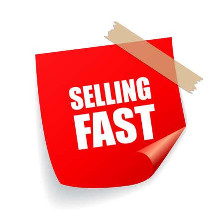 La venta de la etiqueta engomada rápida Ilustración de vector