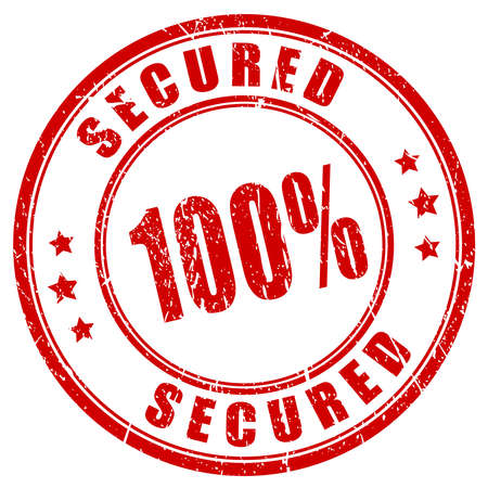 encrypted files icon: 100 secured stamp