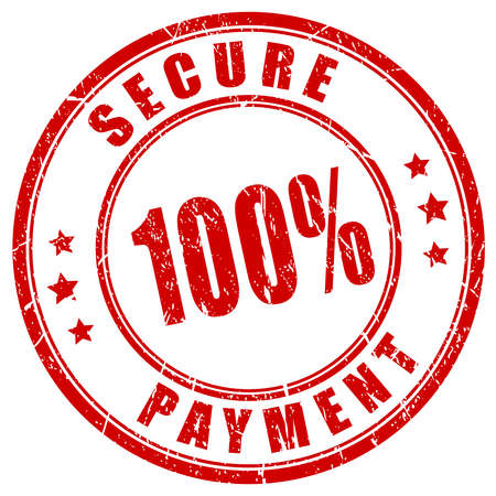 secured payment: 100 secure payment stamp Illustration