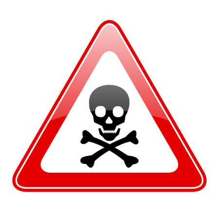 Trójkąt czaszki znak niebezpieczeństwa