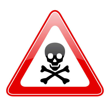 hazardous waste: Triangle skull danger sign