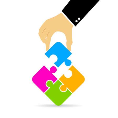 assembling: Hand assembling puzzle