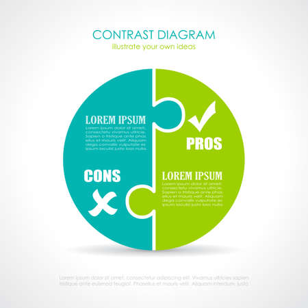 cons: Pros and cons diagram template Illustration