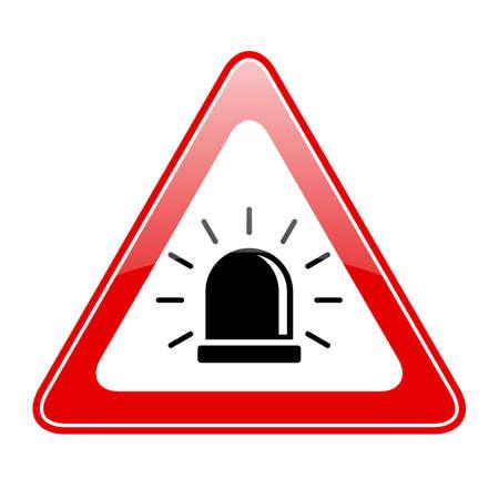 Alarm siren warning sign