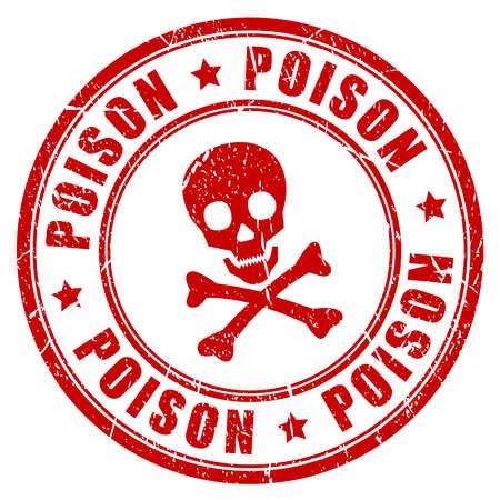 poisonous substances: Poison danger vector rubber stamp Illustration