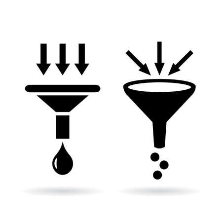 destilacion: Filtros iconos conjunto de vectores Vectores
