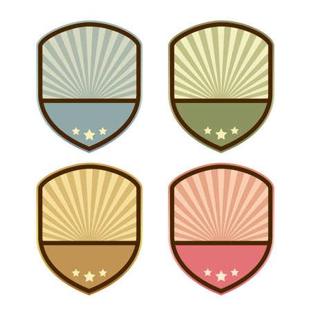 shield set: Abstract retro shield emblem template